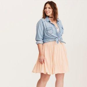 TORRID 1 NWT Blush Gauze Embroidered Skater Skirt